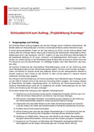 """Schlussbericht zum Auftrag """"Projektleitung Avantage"""""""